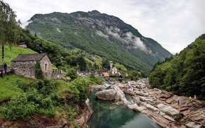 Picture forest, the sky, trees, mountains, river, stones, people, rocks, village, tower, home, stream, Church, thresholds, ...