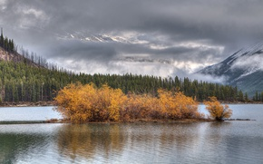 Picture autumn, the sky, trees, mountains, clouds, lake, island