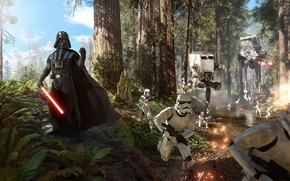 Picture clouds, the sky, stormtroopers, trees, Electronic Arts, EA DICE, Star Wars: Battlefront, Darth Vader, blasters, ...