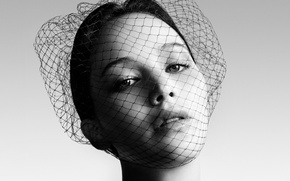 Picture black and white, actress, veil, Jennifer Lawrence