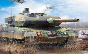 Picture figure, Germany, art, Leopard 2, Leopard 2, Eurocopter Tiger, German main battle tank, modern attack …