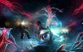 Picture lights, creatures, divers, Underwater world, bathyscaphe