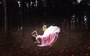 Picture forest, girl, dress, in pink, levitation, Dreamland