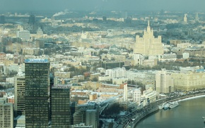 Picture home, Moskow, panorama height, the city, capital, Moscow, building, river