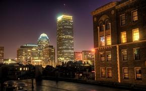 Wallpaper Prudential, night, Center, Boston, home, Night, Windows