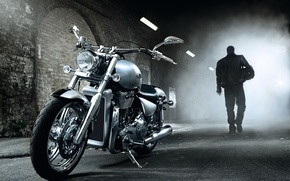 Wallpaper tunnel, motorcycle, stannic
