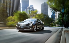 Picture the city, background, Cadillac, coupe, the front, Cadillac, ELR, ELR