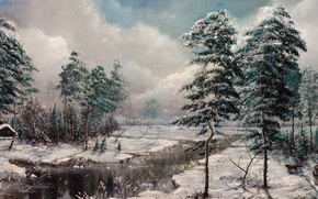 Picture winter, snow, trees, nature, house, river, dog, hunter, hut