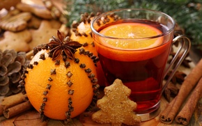 Wallpaper orange, New Year, cookies, Christmas, drink, cinnamon, carnation, holidays, star anise, Anis, mulled wine