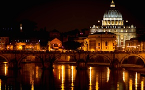 Picture night, bridge, lights, river, Rome, Italy, The Vatican, The Tiber, St. Peter's Cathedral