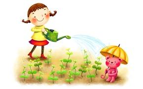 Wallpaper sprouts, smile, umbrella, figure, girl, braids, lake, animal