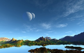 Picture water, surface, life, vegetation, satellites, cloud, exoplanet, starry sky, rock. mountains