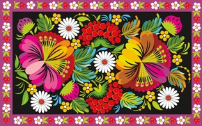 Picture flowers, berries, pattern, ornament, painting, folk