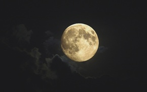 Picture the sky, clouds, the moon, planet, the full moon, Earth satellite