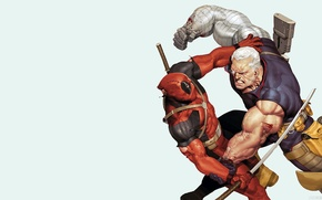 Picture red, Deadpool, Deadpool, comics, MARVEL, Cable, Wade Wilson