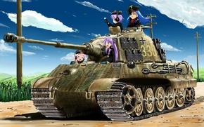 """Picture Form, Girls, Technique, Panzerkampfwagen VI Ausf. B """"Tiger II"""", Lucky Star"""