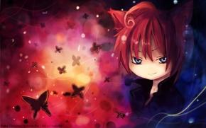 Picture butterfly, smile, guy, neko, ears, art, onine of the latter