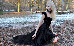 Wallpaper Girl, Nature, Model, Snow, Beauty, Blonde, Outside, Maria Amanda Schaub, Goth, Beauiful