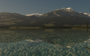 Picture forest, water, lake, stones, mountain, hill, art