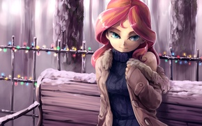 Picture snow, Girl, art, shop, blue eyes, lanterns, sweater, My Little Pony, pink hair, Sunset Shimmer