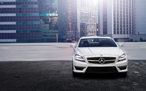 Picture the city, building, Parking, front, Mercedes, Mercedes Benz CLS
