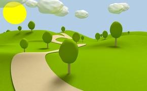 Wallpaper path, grass, the sun, obloka