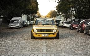 Picture the sun, trees, street, Volkswagen, cars, Golf, Mk1, headlights