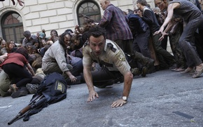 Picture the crowd, zombies, zombie, the series, actor, serial, The Walking Dead, Rick Grimes, The walking ...