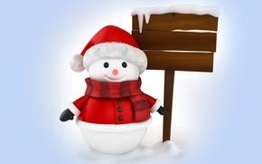 Picture winter, snow, snowman, christmas, new year, winter, snow, cute, snowman, santa