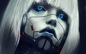 Picture girl, line, metal, face, hair, robot, art