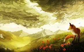 Picture greens, clouds, flowers, birds, hills, art, Fox, painted landscape