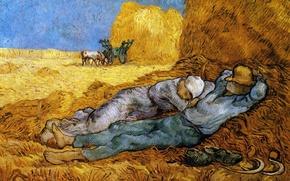 Picture art, sleep, wheat, tools, van gogh, farmers