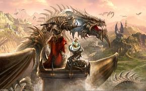 Wallpaper dragon, knight, Dragon Eternity