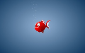 Wallpaper minimalism, fish, piranha