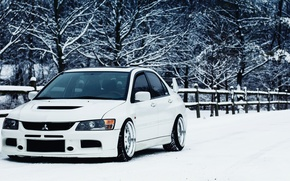 Wallpaper mitsubishi, winter, Mitsubishi, Lancer, white, lancer, evo