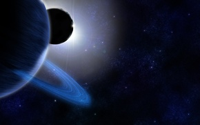 Picture dark, glow, ring, planet