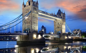 Picture the sky, water, clouds, sunset, lights, lights, reflection, England, London, the evening, Europe, UK, Thames, ...