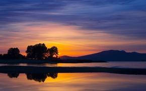 Wallpaper Sunset, Water, The evening, Trees, Hills