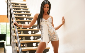 Picture girl, dress, brunette, ladder, steps, sexy, ashley bulgari
