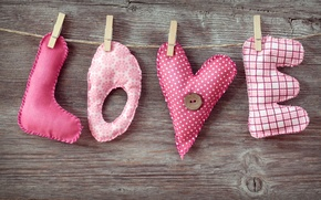 Picture love, letters, the inscription, fabric, love, clothespins, pads