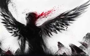 Wallpaper blood, white background, male, angel wings, halo, short hair, sakimichan, monochrome