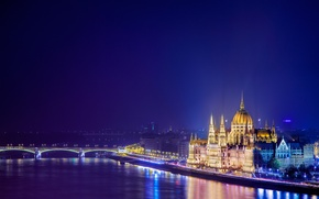 Picture Parliament, architecture, the city, Hungary, building, Hungary, night, Margaret bridge, Margit Bridge, Budapest, The Danube, ...