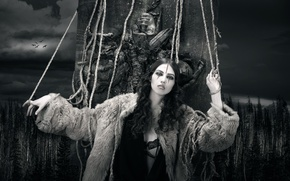 Picture forest, girl, art, monochrome, rope, Doom, Joachim Bergauer
