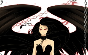 Picture look, face, anime, chain, red eyes, fallen angel, black wings