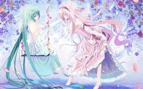 Picture smile, girls, mood, vocaloid, hatsune miku, megurine luka, Vocaloid, art, bow, okingjo