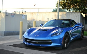 Picture Corvette, Chevrolet, blue, C7 Stingray