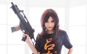 Picture look, girl, light, weapons, brunette, HK G36