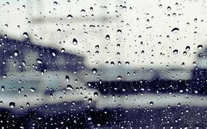 Picture glass, drops, the city, rain, street