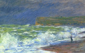 Wallpaper Claude Monet, picture, sea, wave, Beach Fecamp, landscape
