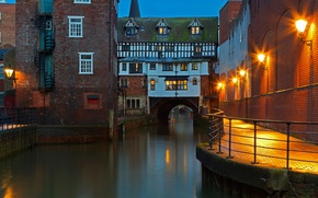Picture bridge, England, home, channel, Lincoln